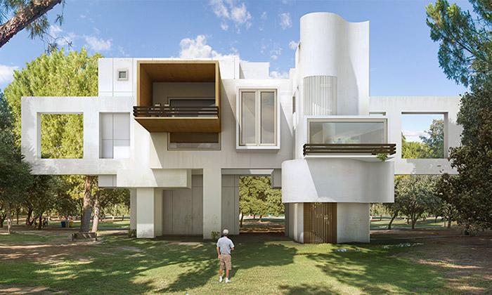 Trans-actions jesérie fantaskních koláží architektury