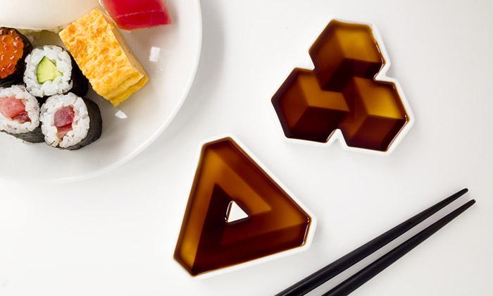 Misky nasojovou omáčku Soy Shape mají 3D efekty