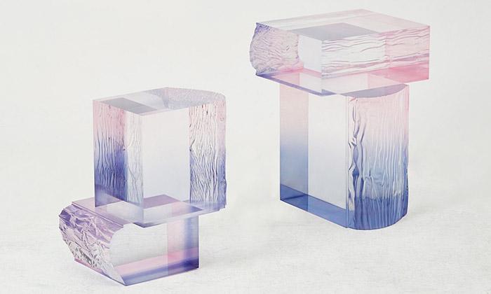 Saerom Yoon navrhl stolky skřišťálovým efektem