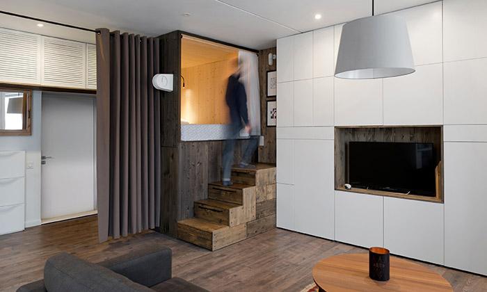 Moskevský byt pro dva má plochu pouhých 35 metrů