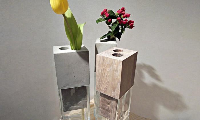Jiří Vlastník a váza s nástavcem z betonu či dřeva