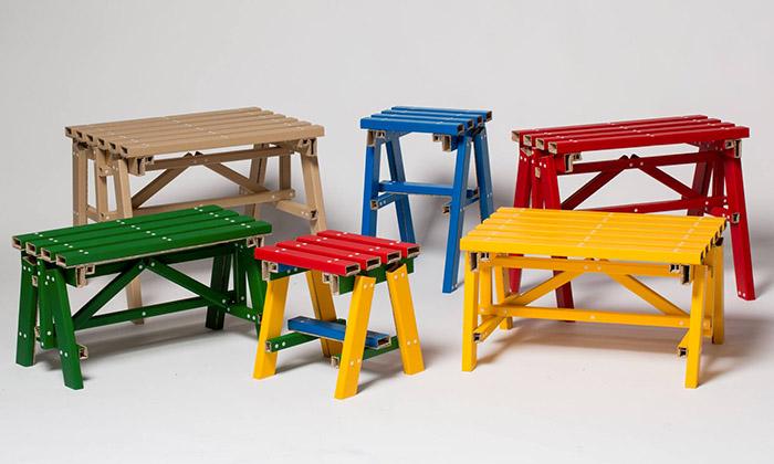 Kolekce kartonového nábytku Lumber od studia PESI