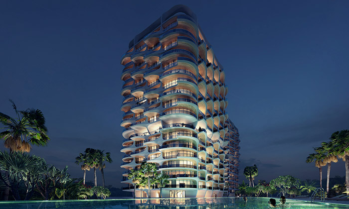 Mexiko staví tři bytové domy Alai odZahy Hadid