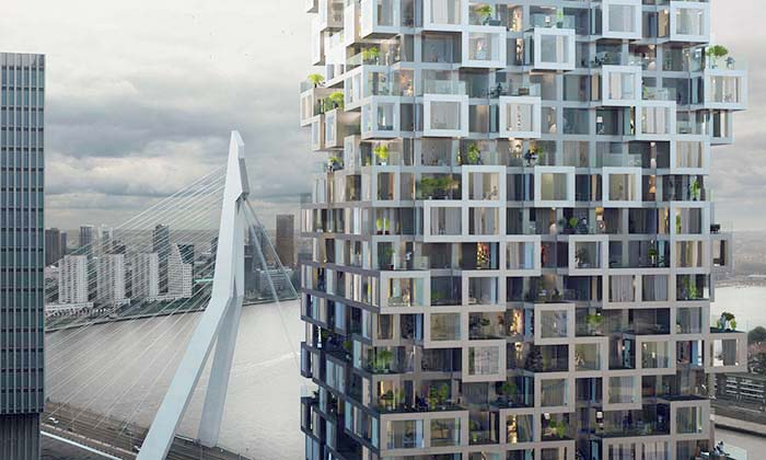 MVRDV postaví vRotterdamu obytnou věž zkostek