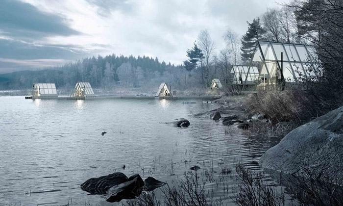 Ve Švédsku staví rekreační vesničku chatek ze skla