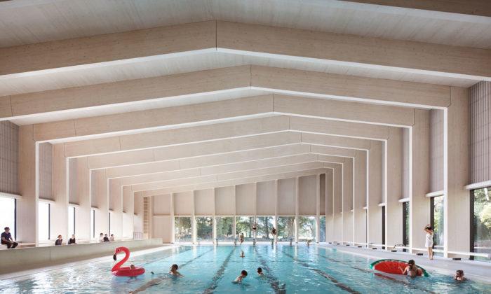 V Londýně postavili školní plavecký bazén sinteriérem ze dřeva