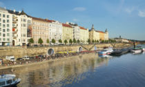 Náplavka pod Rašínovým nábřežím v Praze po rekonstrukci