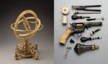 Rovníkové prstencové sluneční hodiny se stativem, kolem r. 1600 Erasmus Habermel (?–1606) a Perkusní revolver, 1854 firma A. V. Lebeda, Praha Josef Mánes (1820–1871)