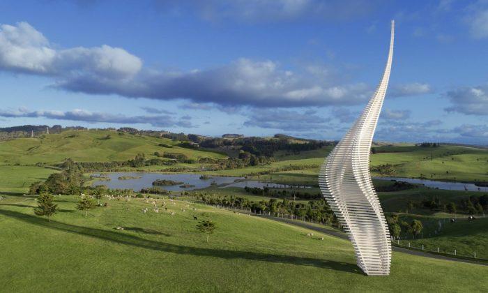 Gerry Judah postavil naNovém Zélandu monumentální sochu Jákobova žebříku
