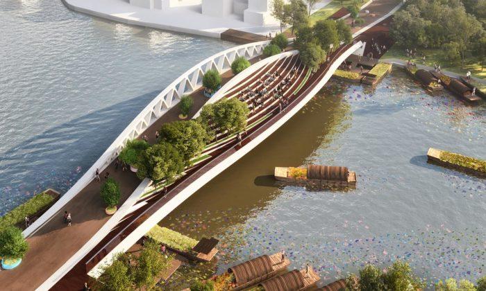 MVRDV postaví přes řeku vŠanghaji most sestromy avyhlídkou nastaré město