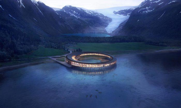 Snøhetta navrhla unorského ledovce Svartisen ekologický hotel stvarem kruhu