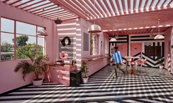 Indický hotel Feast India Co. láká hosty nainteriér vbarvách růžové zebry
