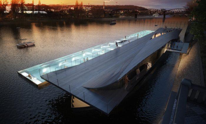 Praha postaví pod Vyšehradem plovoucí lázně vetvaru lodi
