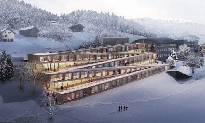 BIG postaví švýcarský Hotel des Horlogers sesjezdovkou nastřeše