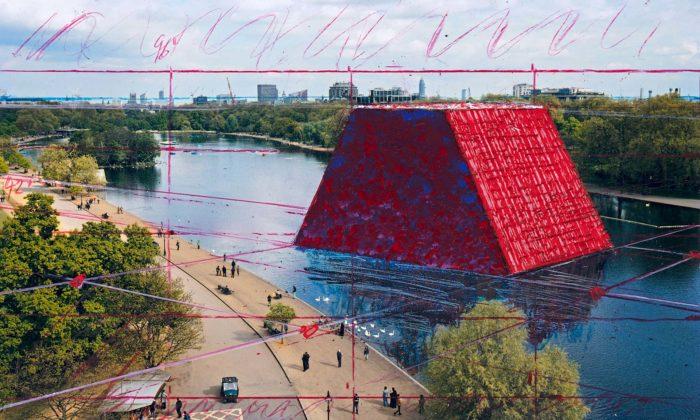 Christo postaví vlétě vLondýně plovoucí mastabu z7506 sudů