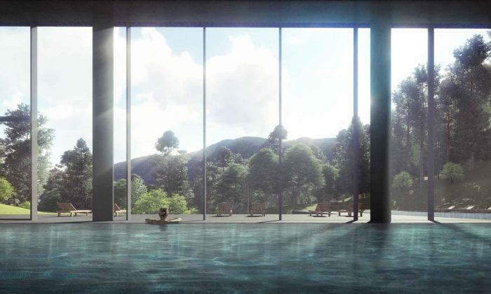 Henning Larsen staví vgruzínských horách minimalistický lázeňský Agobili Hotel