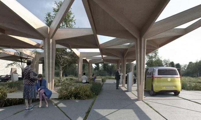 Dánsko staví čerpací stanice budoucnosti ze dřeva aplné zeleně