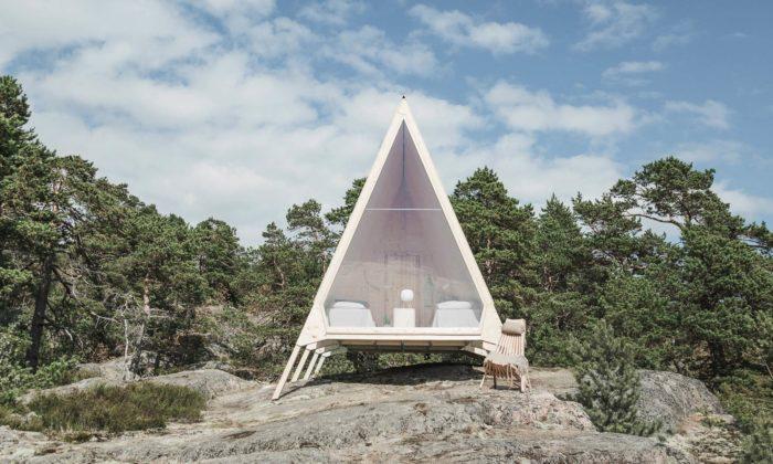 Nolla Cabin jemalý domek nafinském ostrově snulovým dopadem naokolí