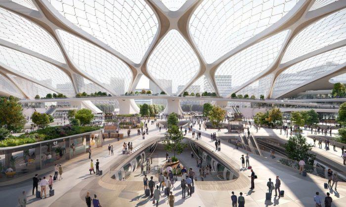 UNStudio navrhlo evropská nádraží budoucnosti Hyperloop Hub pro Hardt