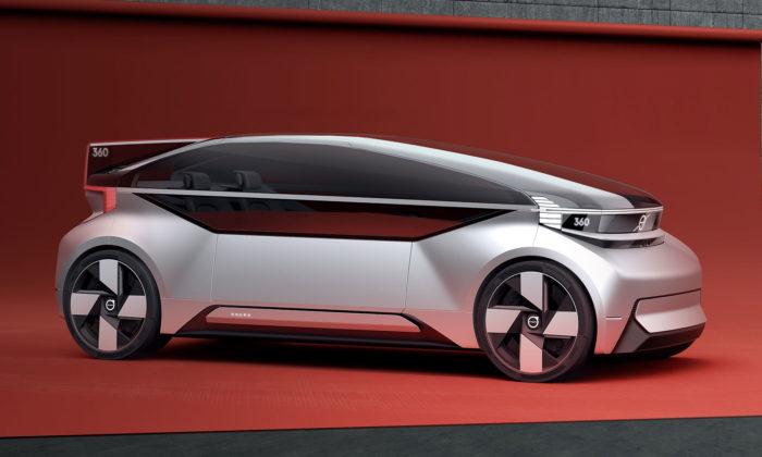 Volvo 360c jekoncept elektrického auta budoucnosti sautonomním řízením