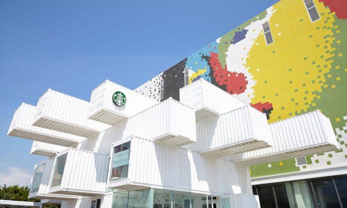 Kengo Kuma postavil naTchaj-wanu kavárnu Starbucks z29 dopravních kontejnerů