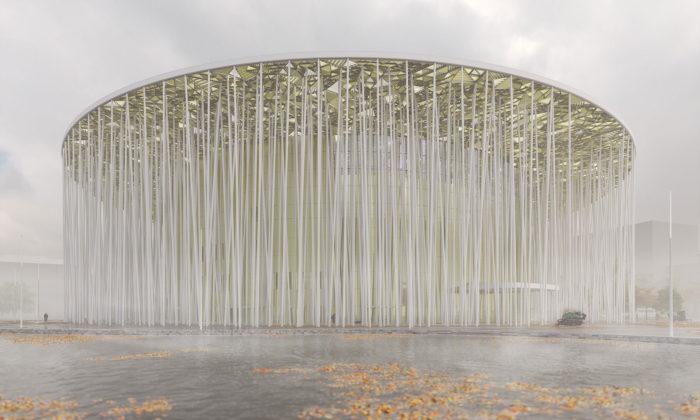 Steven Chilton postavil vČíně divadlo připomínající hustý bambusový les