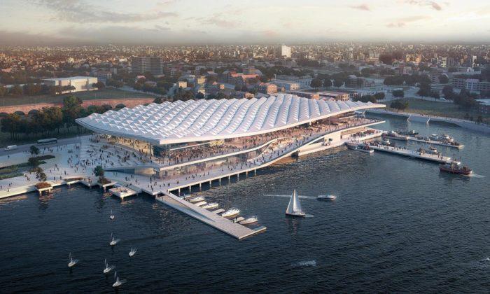3XN postaví nanábřeží vSydney nový rybí trh smoderní zvlněnou střechou