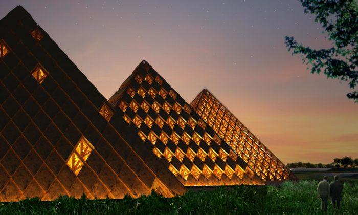 Shigeru Ban postaví destilérku Kentucky Owl vetvaru třech dřevěných pyramid