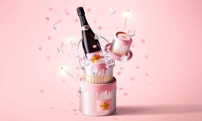 Veuve Clicquot oslavuje 200 let růžového šampaňského nádobou naled vetvaru dortu