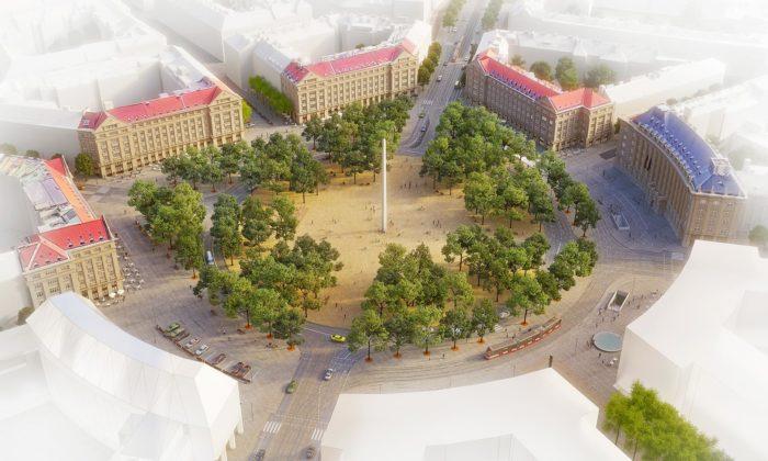 Vítězné náměstí vPraze sevýrazně promění azklidní podle návrhu Pavel Hnilička Architekti
