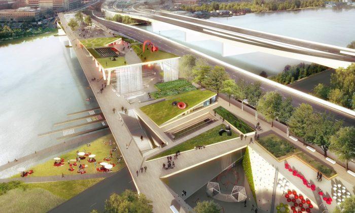 Washington dostaví most přes řeku avytvoří zněj park spromenádou aamfiteátrem