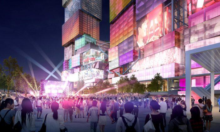 MVRDV navrhli pro Tchaj-pej psychedelické mrakodrapy zbloků sdigitální fasádou