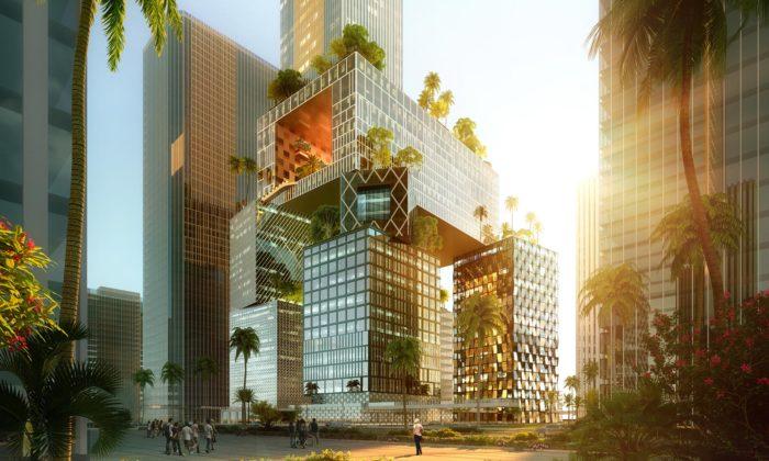 MVRDV mění zažité představy omrakodrapech astaví trojrozměrný azelený nové generace