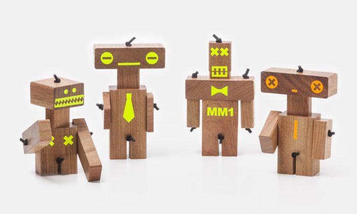 BOA navrhli kolekci hraček Robot Gang zodpadních odřezků dřeva zlaviček