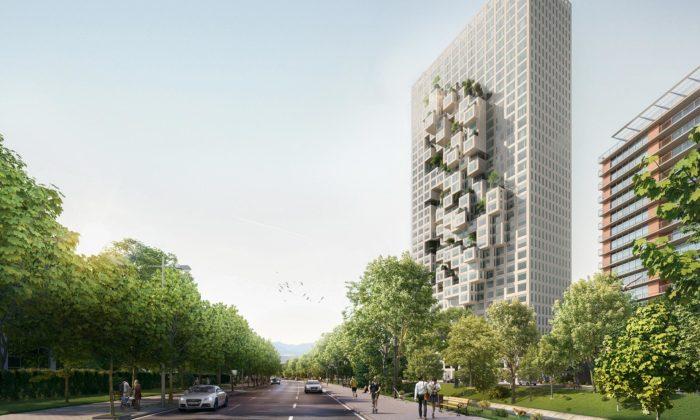 MVRDV staví valbánské Tiraně bytový dům svystupujícími kostkami zfasády
