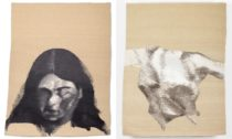Gabriela Pustková a ukázka jejích ručně tkaných gobelínů