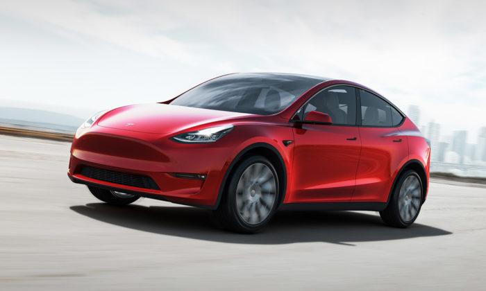 Tesla Model Y jeelektrické středně velké SUV sočekávaným designem