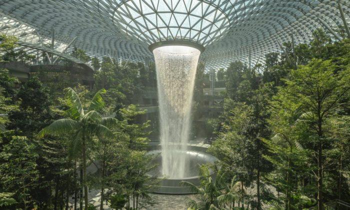 Letiště vSingapuru otevřelo obří zahradu snejvětším interiérovým vodopádem nasvětě