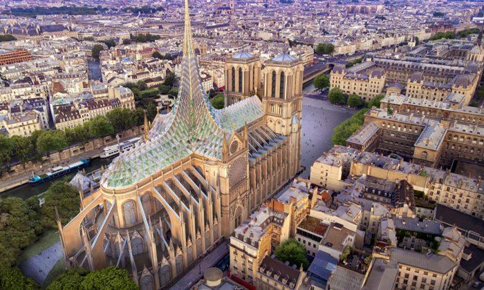 Francouz chce proměnit střechu Notre-Dame naskleník pro pěstování ovoce azeleniny