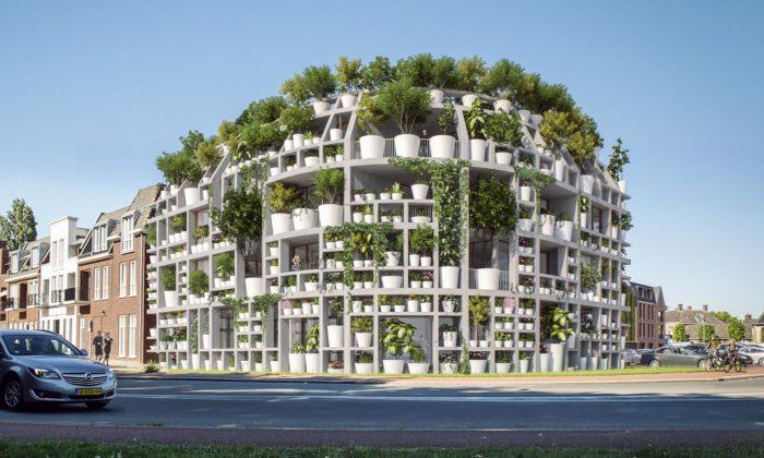 MVRDV postaví vNizozemsku bytový dům sfasádu ze stovek květináčů plných zeleně