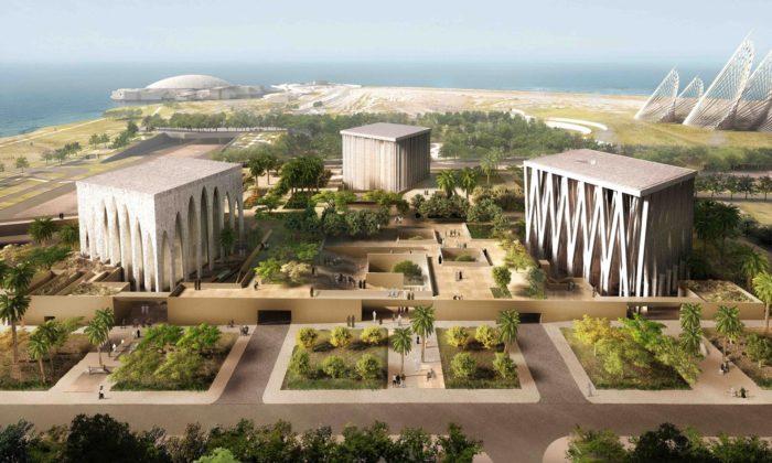 Adjaye postaví naostrově vAbu Dhabi vedle sebe kostel, synagogu amešitu