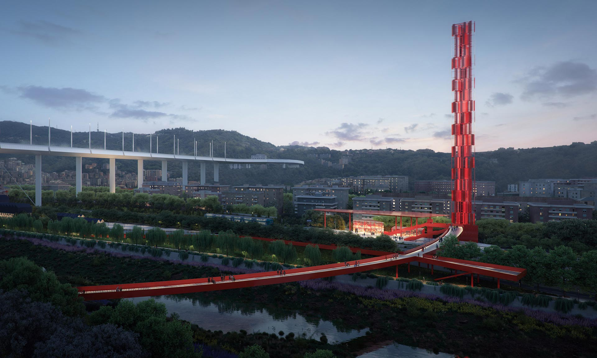 Stefano Boeri navrhl kruhovou promenádu apark pod mostem Ponte Genova