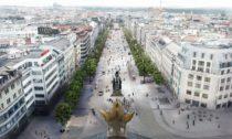 Aktualizovaný návrh výsledné podoby Václavského náměstí vPraze podle návrhu Jakuba Ciglera