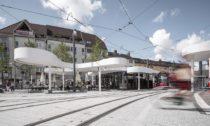Nádraží vněmeckém Freiburg odJ. Mayer H.