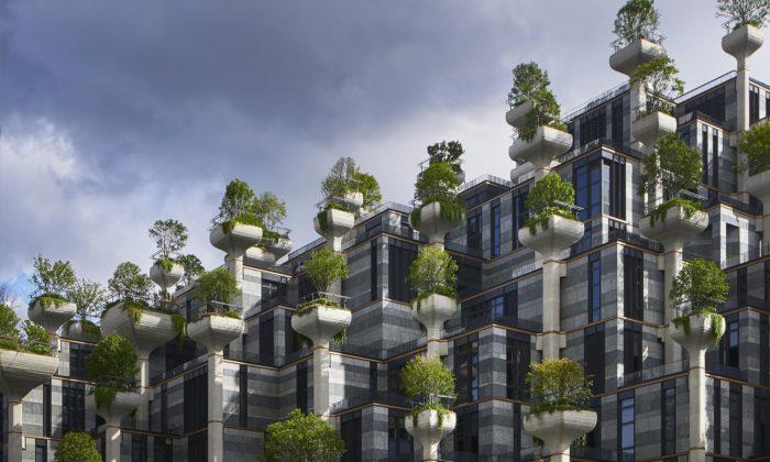 Heatherwick postavil vŠanghaji bytový dům osázený tisícem stromů
