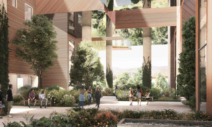 MVRDV postaví vPraze relaxační rezidenci zkostek sezeleným átriem