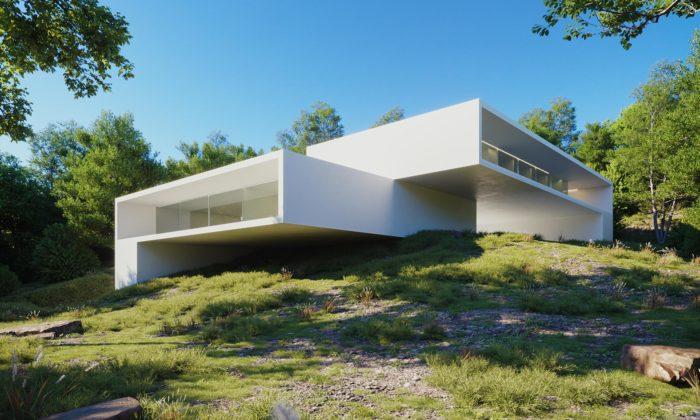Fran Silvestre postavil vRiu vilu ze dvou propojených bílých kvádrů