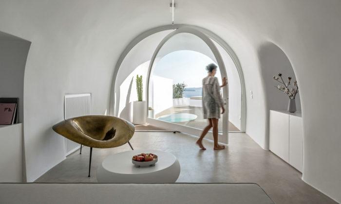 Saint Hotel naostrově Santorini vyrostl způvodních domků asklepů