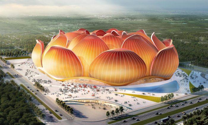 Čína začala stavět největší fotbalový stadion nasvětě stvarem lotosového květu