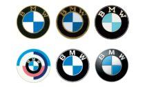 Vývoj loga BMW chrnologicky od roku 1917, 1933, 1954, 1974, 1979, 2007
